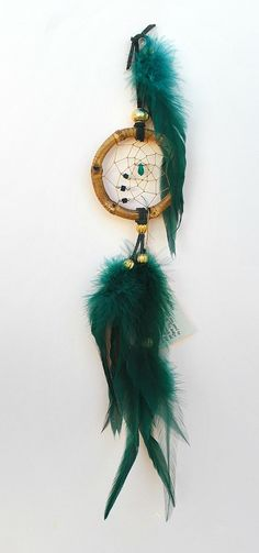 Handmade Hunter Green Dreamcatcher with Green by OriginalsByCathy, $12.50 [Bedroom dreamcatcher]