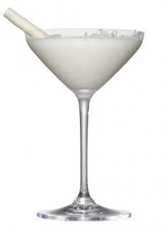 Winter Wonderland Martini ~ Vanilla Vodka, White Crème de Cacao, White Chocolate Liqueur, Cream, coconut flakes, and a white chocolate wafer stick