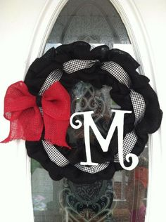 burlap, ribbon + wood letter wreath