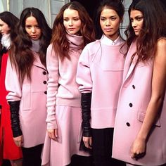 Behind the scenes at MBFW. Pink. The new neutral for fall14?