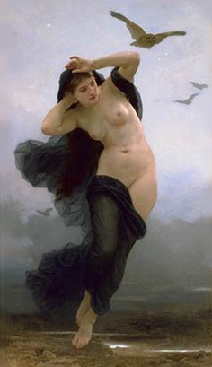 La Nuit (1883) by William-Adolphe Bouguereau   --In Greek mythology, Nyx (Nox in Roman translation) is the deity of the night. A shadowy figure, Nyx stood at or near the beginning of creation, and was the mother of personified gods such as Hypnos (sleep) and Thánatos (death). Her appearances in mythology are sparse, but reveal her as a figure of exceptional power and beauty. She is found in the shadows of the world and only ever seen in glimpses.
