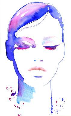 Fashion Illustration, Watercolor Fashion Illustration, Print of Watercolor Painting, titled - eyeswideshut. $35.00, via Etsy.