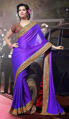 $149.04 Purple Silk Sequins Work Saree 26396