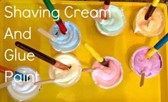Shaving Cream and Glue Paint, another fun puffy paint type craft for the kiddos.