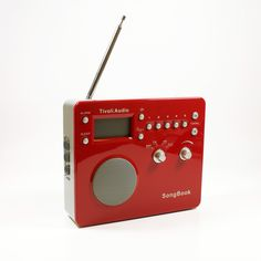 Songbook radio alarm clock that doubles as a speaker for your iPod.