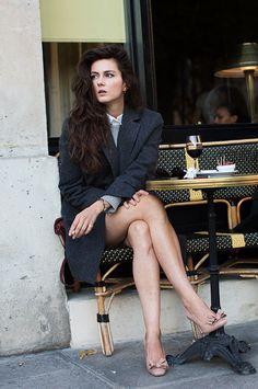 fashion, blazer, long hair, street style, parisian style, big hair, parisian chic, shoe, coat