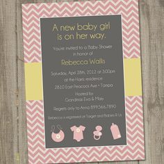 Baby Chevron Printable Baby Shower Invitation. $15.00, via Etsy. babi kamryn, color schemes, diy chevron, chevron invit, chevron babi, babi stuff, babi marchand, babi shower, baby showers