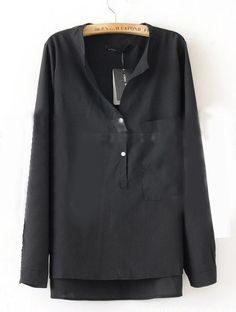 Black Collarless Dipped Hem Long Sleeve Blouse with Front Pocket - Sheinside.com