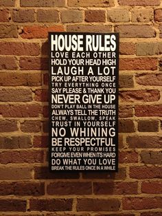 house rules | House Rules Quote on Canvas Subway Art Rolled Canvas Kids Room Art ...