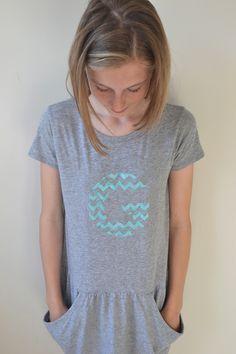 make: stenciled letter dress {with handmade charlotte stencils} | art bar