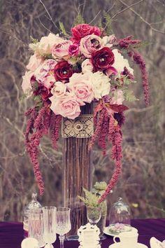 Rustic Burgundy Pink Purple Centerpiece Wedding