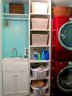 idea, laundry room storage, home interiors, storage shelves, storag shelv, laundry rooms, sink, hous, laundri room