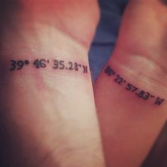 My amazing husband and I got this couple tattoo. It's the latitude and longitude of the exact spot we said our vows. He has the latitude and I have the longitude.
