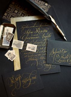 Gold and black wedding invitations and vintage stamps | Dark-and-romantic -Venice-wedding-ideas | 100 Layer Cake