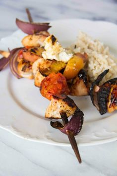 Peach and Chicken Kabobs with Coconut Rice