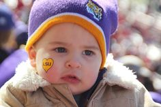 """My son at the LSU-Arkansas game!! His first #LSU game!! He cheered the whole time!!"""