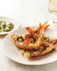 Spicy Grilled Shrimp with Yuzu Kosho Pesto Recipe.