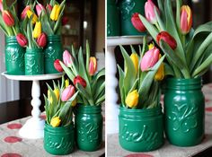Turn old jars into cute St. Patrick's day decor. Love this DIY project.