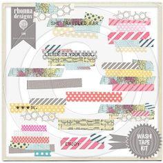digital washi tape printable washi, digit scrapbook, craft inspir, mix tape, digit washi, tape kit, tapes, washi tape, design