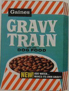 1960s GRAVY TRAIN Dog Food Vintage Box Graphics Illustration Advertisement by Christian Montone, via Flickr