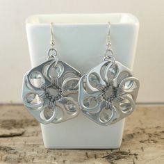 grey pop tab flower earrings