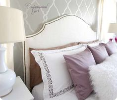 DIY Upholstered headboard with Nail Head trim