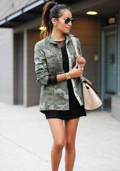 camouflage jacket + black dress