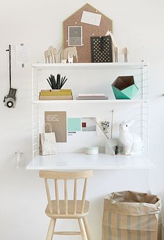 Small and stylish home office space. interior, desks, hous, small spaces, shelv, bureau, home offices, kid, workspac