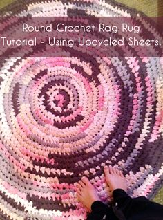 $28 5' round rag rug made from old sheets from goodwill ;) super easy to make!