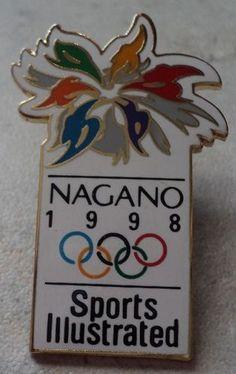 OLYMPIC GAMES PIN Nagano 1998 Olympics Sports Illustrated White Goldtone Badge