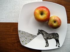 Horse Geometric Illustrated Plate by PerDozenDesign on Etsy,
