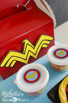 Cute gable box lunch at a Wonder Woman / Superhero Party with So Many Awesome Ideas via Kara's Party Ideas | KarasPartyIdeas.com #Superhero #Party #Ideas #Supplies #wonderwomanparty
