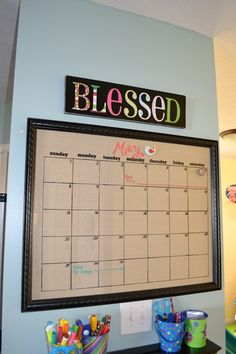 Magnetic dry erase calendar from an old frame