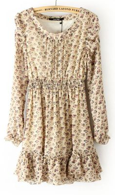 Beige Long Sleeve Floral Elastic Waist Ruffles Dress -