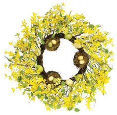 Forsythia Wreath Nests Eggs Silk Spring Door Wreaths