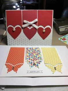 any shape punch butterfli, punch art cards, card idea, card craft, valentine day cards, valentine cards, cards craft, paper crafts, heart cards