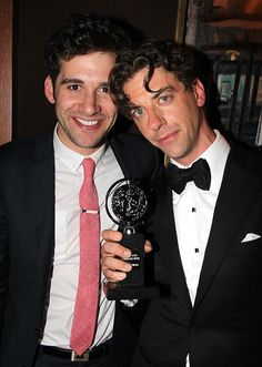 Adam Chanler-Berat and Christian Borle celebrate after the #TonyAwards