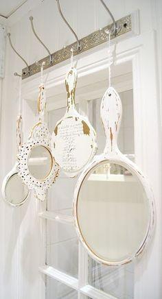 Shabby hand mirror display