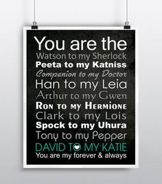 This Fandom and their ships couples art print will make a perfect anniversary gift for the Geek enthusiasts in your life.  The couples' first names will be added to the print with your choice of text color for their names.  Plus you can remove or add other fandom relationships.