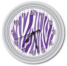 Purple zebra print stuff | Purple Animal Zebra Print Wall Clock Canvas Room Accent Decor Party ... Zebra Stuff, Zebra Print Bedroom Decor, Wall Clocks, Zebra Print3, Print Stuff, Zebra Purple Bedroom