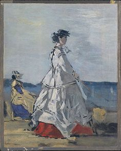 Eugène Boudin (French, 1824–1898). Princess Pauline Metternich (1836–1921) on the Beach, ca. 1865–67. The Metropolitan Museum of Art, New York. The Walter H. and Leonore Annenberg Collection, Gift of Walter H. and Leonore Annenberg, 1999, Bequest of Walter H. Annenberg, 2002 (1999.288.1)