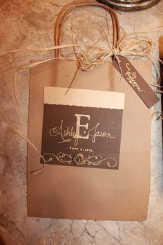 Rustic Welcome Bags - make a welcome bag for your guests and have the front desk give it to each guest when they check in!