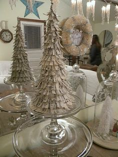 diy home decor, vintage sheet music, christma tree, cake stands, vintage sheets, louis vuitton handbags, paper trees, christmas trees, cake plates