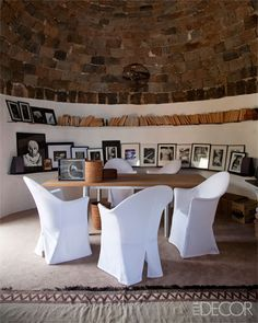 A dining room photography display