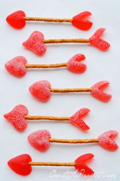 Cupid's arrows from heart gummies and pretzels. These are such a cute and easy Valentine's Day treat!