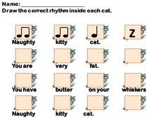 Naughty Kitty Cat - Rhythm Reading - Free Idea