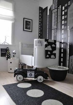 26 Baby boys bedroom design ideas with modern and best theme: black and white nursery themes for baby boys with police concept