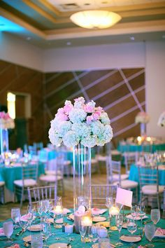 Pink and Tiffany blue wedding ideas  - wedding flowers and floral design  centerpiece and table scape - Cean One Photography via CeremonyBlog