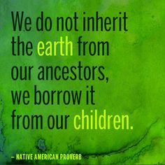 We do not inherit the earth from our ancestors, we borrow it from our children. — Native American Proverb