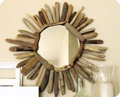 driftwood mirror....smooth wood looks great for this project